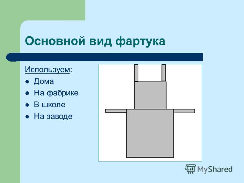 Основной вид фартука ИспользуемИспользуем: Дома На фабрике В школе На заводе