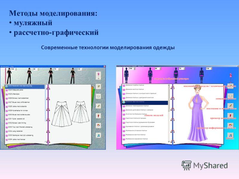 Методы моделирования: муляжный рассчетно-графический Современные технологии моделирования одежды