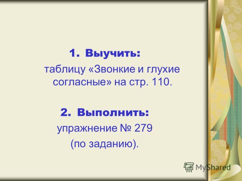1.Выучить: таблицу «Звонкие и глухие согласные» на стр. 110. 2. Выполнить: упражнение 279 (по заданию).