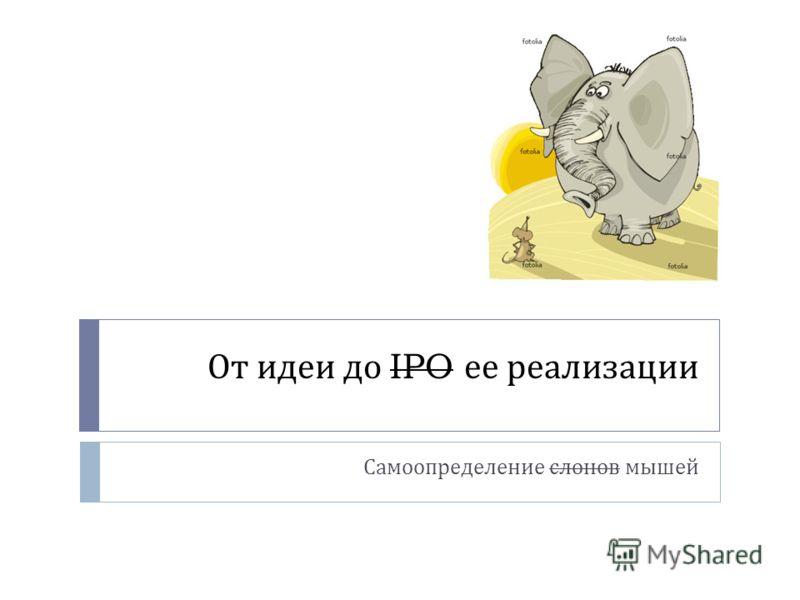 От идеи до IPO ее реализации Самоопределение слонов мышей