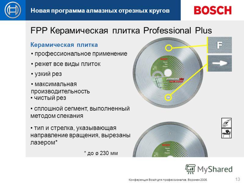 Новая программа алмазных отрезных кругов Конференция Bosch для профессионалов. Воронеж 2005. 13 профессиональное применение Керамическая плитка сплошной сегмент, выполненный методом спекания максимальная производительность чистый рез узкий рез тип и