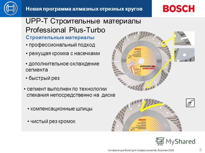 Новая программа алмазных отрезных кругов Конференция Bosch для профессионалов. Воронеж 2005. 8 профессиональный подход сегмент выполнен по технологии спекания непосредственно на диске быстрый рез чистый рез кромок режущая кромка с насечками дополните