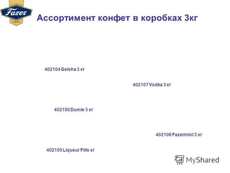 Ассортимент конфет в коробках 3кг 402104 Geisha 3 кг 402100 Dumle 3 кг 402105 Liqueur Fills кг 402106 Fazermint 3 кг 402107 Vodka 3 кг