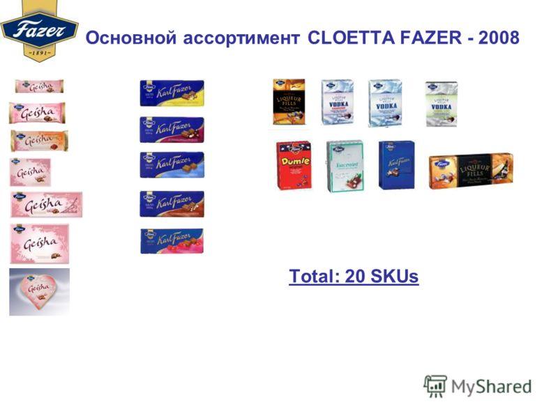 Основной ассортимент CLOETTA FAZER - 2008 Тotal: 20 SKUs