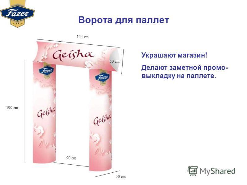 Ворота для паллет 190 cm 90 cm 50 cm 154 cm 50 cm Украшают магазин! Делают заметной промо- выкладку на паллете.