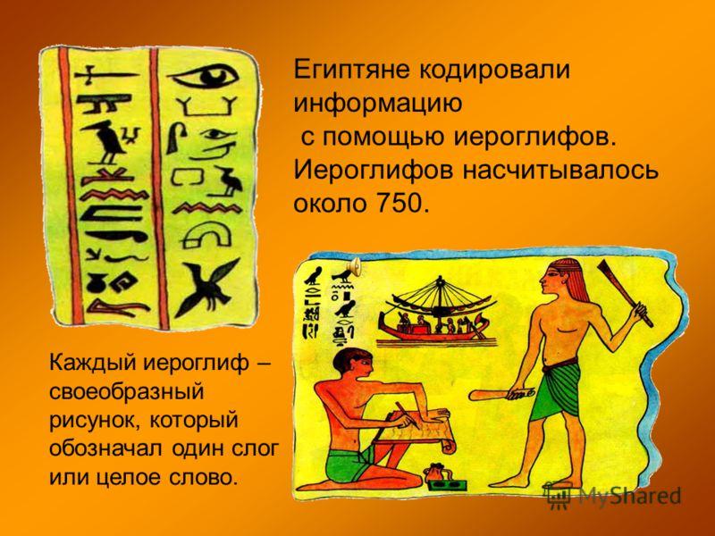 Египтяне кодировали информацию с помощью иероглифов. Иероглифов насчитывалось около 750. Каждый иероглиф – своеобразный рисунок, который обозначал один слог или целое слово.