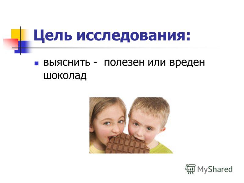 выяснить - полезен или вреден шоколад Цель исследования: