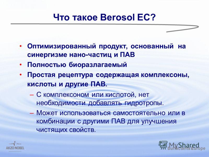 Surfactants Europe /gbk Что такое Berosol EC? Оптимизированный продукт, основанный на синергизме нано-частиц и ПАВ Полностью биоразлагаемый Простая рецептура содержащая комплексоны, кислоты и другие ПАВ. –С комплексоном или кислотой, нет необходимост