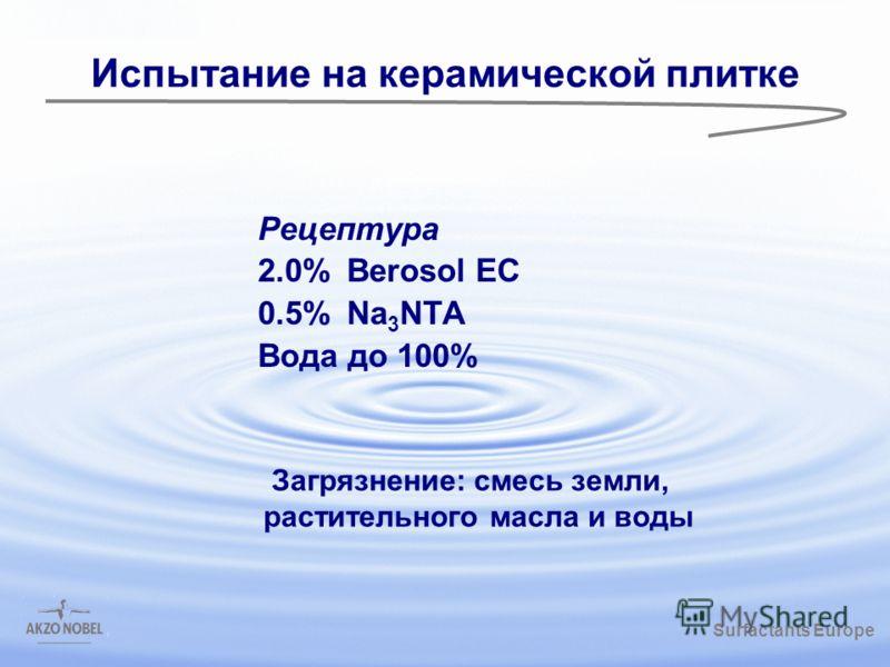 Surfactants Europe /gbk Испытание на керамической плитке Рецептура 2.0%Berosol EC 0.5%Na 3 NTA Вода до 100% Загрязнение: смесь земли, растительного масла и воды