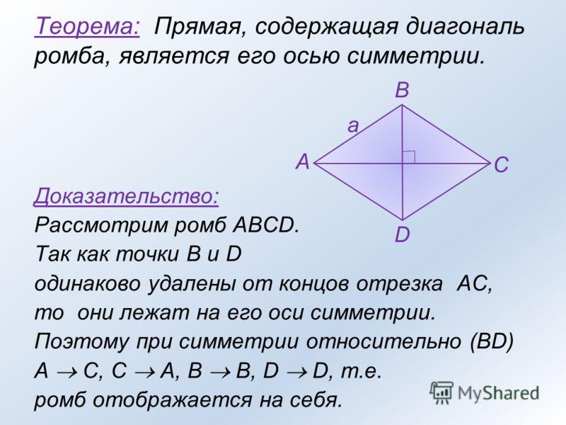 Теорема: Прямая, содержащая диагональ ромба, является его осью симметрии. Доказательство: Рассмотрим ромб ABCD. Так как точки B и D одинаково удалены от концов отрезка AC, то они лежат на его оси симметрии. Поэтому при симметрии относительно (BD) A C