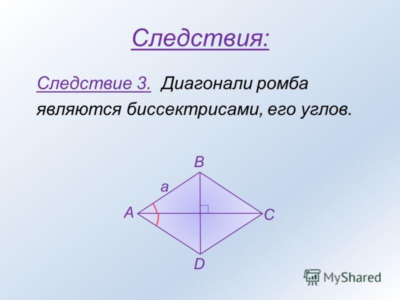 Следствие 3. Диагонали ромба являются биссектрисами, его углов. A B C D a