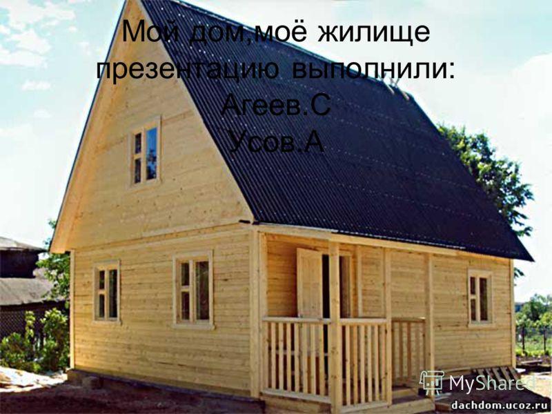Мой дом,моё жилище презентацию выполнили: Агеев.С Усов.А