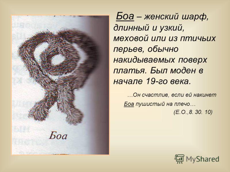 Боа – женский шарф, длинный и узкий, меховой или из птичьих перьев, обычно накидываемых поверх платья. Был моден в начале 19-го века. …Он счастлив, если ей накинет Боа пушистый на плечо… (Е.О.,8. 30. 10)