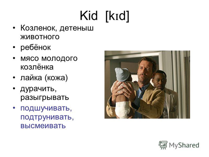 Kid [k ɪ d] Козленок, детеныш животного ребёнок мясо молодого козлёнка лайка (кожа) дурачить, разыгрывать подшучивать, подтрунивать, высмеивать