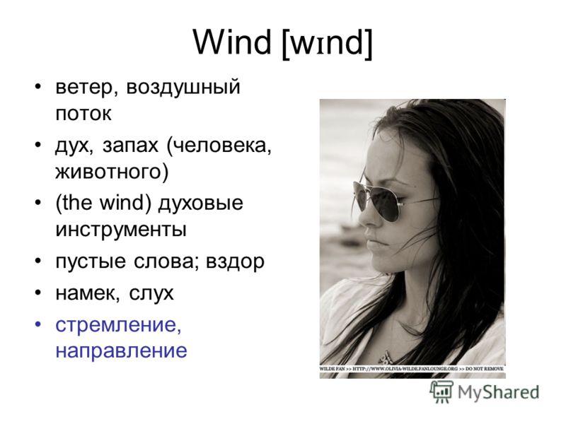 Wind [w ɪ nd] ветер, воздушный поток дух, запах (человека, животного) (the wind) духовые инструменты пустые слова; вздор намек, слух стремление, направление