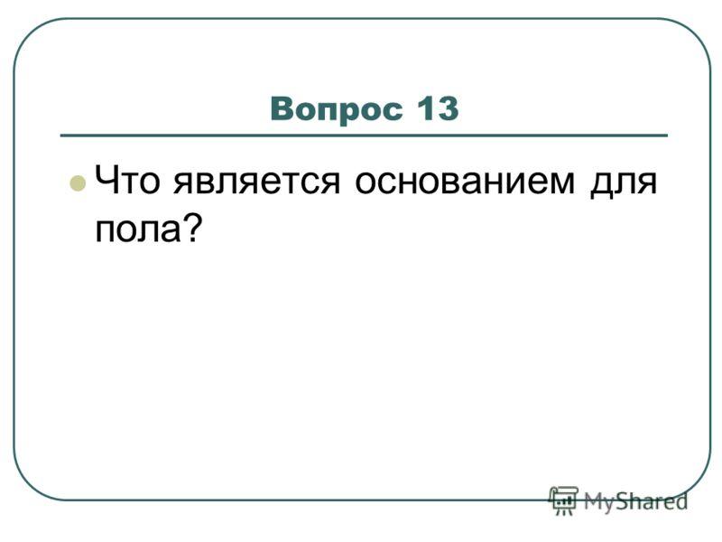 Вопрос 13 Что является основанием для пола?