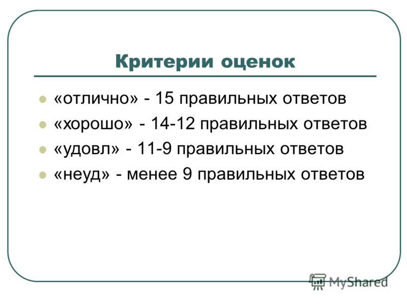 Критерии оценок «отлично» - 15 правильных ответов «хорошо» - 14-12 правильных ответов «удовл» - 11-9 правильных ответов «неуд» - менее 9 правильных ответов