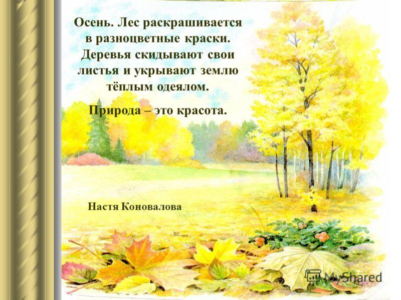 Осень. Лес раскрашивается в разноцветные краски. Деревья скидывают свои листья и укрывают землю тёплым одеялом. Природа – это красота. Настя Коновалова