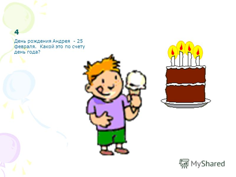 4 День рождения Андрея - 25 февраля. Какой это по счету день года?