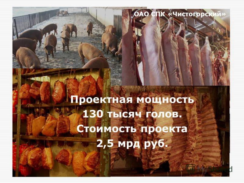 Проектная мощность 130 тысяч голов. Стоимость проекта 2,5 мрд руб. ОАО СПК «Чистогорский»