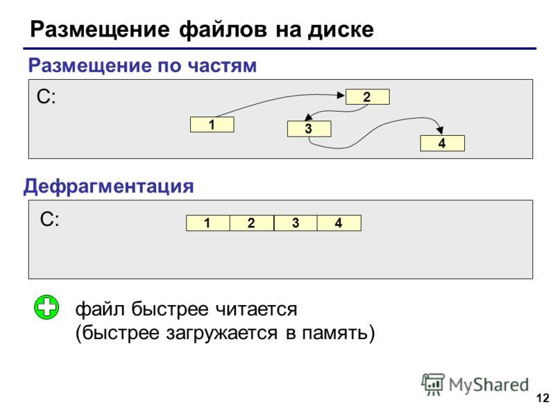 12 Размещение файлов на диске Размещение по частям Дефрагментация файл быстрее читается (быстрее загружается в память) 1 2 3 4 C: 1234