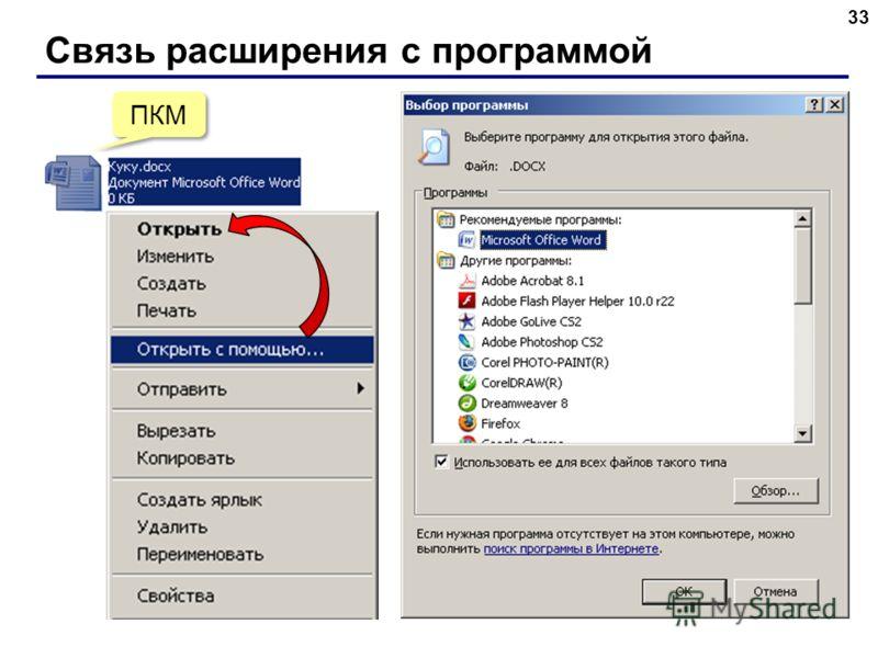 Связь расширения с программой 3 ПКМ