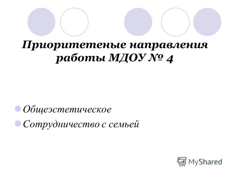 Приоритетеные направления работы МДОУ 4 Общеэстетическое Сотрудничество с семьей