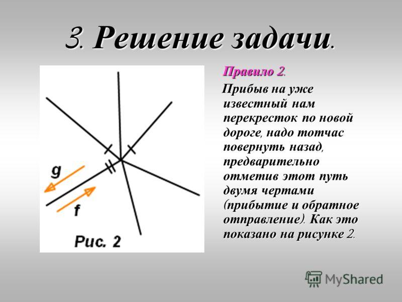 3. Решение задачи. Правило 2. Прибыв на уже известный нам перекресток по новой дороге, надо тотчас повернуть назад, предварительно отметив этот путь двумя чертами ( прибытие и обратное отправление ). Как это показано на рисунке 2.
