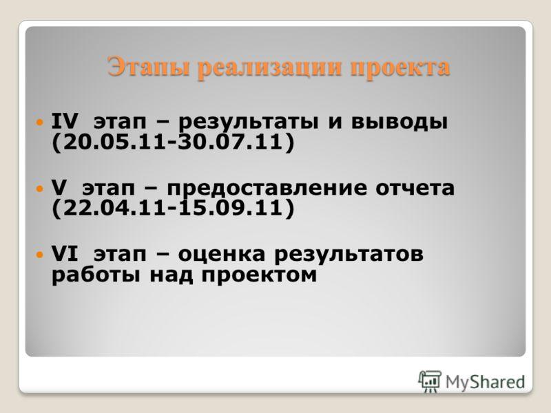 Этапы реализации проекта IV этап – результаты и выводы (20.05.11-30.07.11) V этап – предоставление отчета (22.04.11-15.09.11) VI этап – оценка результатов работы над проектом