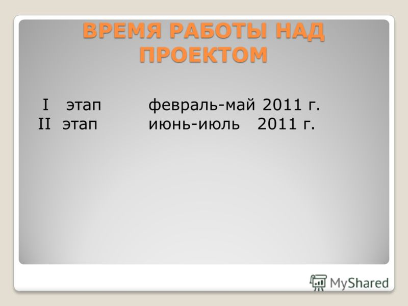 ВРЕМЯ РАБОТЫ НАДПРОЕКТОМ I этапфевраль-май 2011 г. II этапиюнь-июль 2011 г.