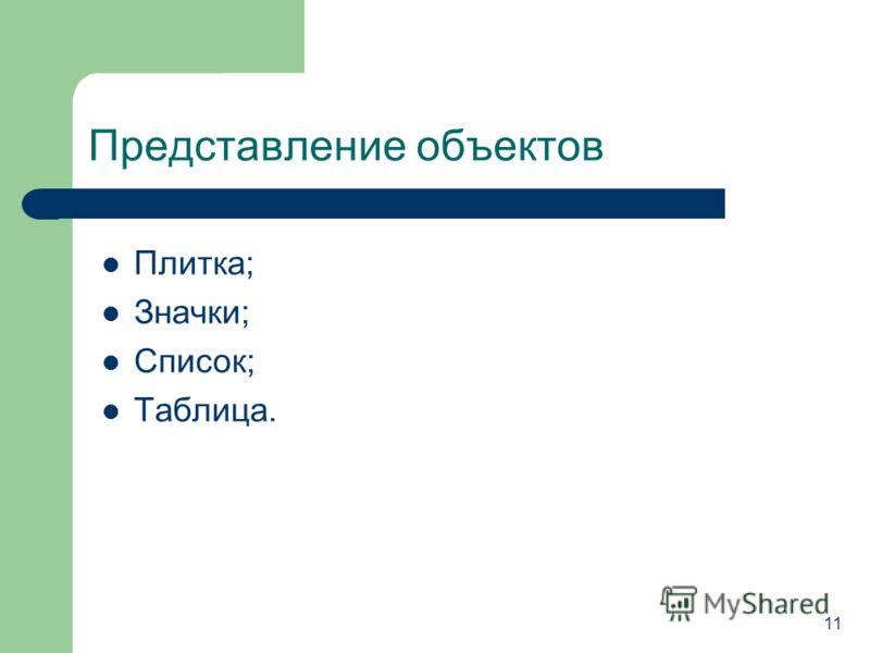 Представление объектов Плитка; Значки; Список; Таблица. 1