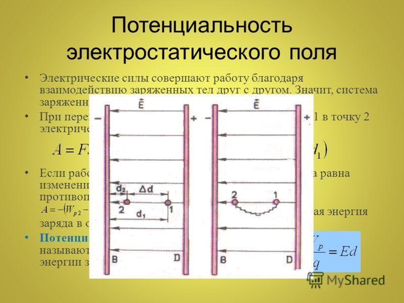 Потенциальность электростатического поля Электрические силы совершают работу благодаря взаимодействию заряженных тел друг с другом. Значит, система заряженных тел обладает потенциальной энергией. При перемещении положительного заряда из точки 1 в точ