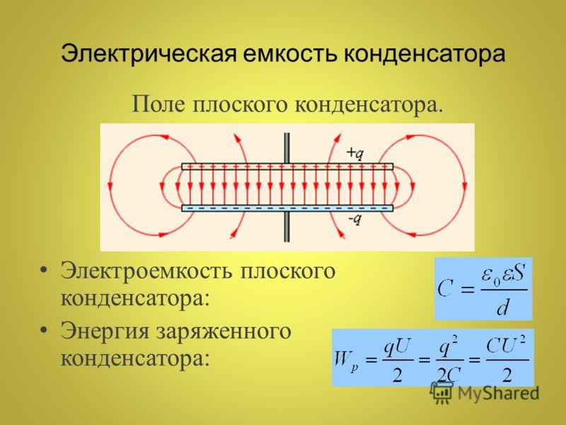 Поле плоского конденсатора. Электроемкость плоского конденсатора: Энергия заряженного конденсатора: