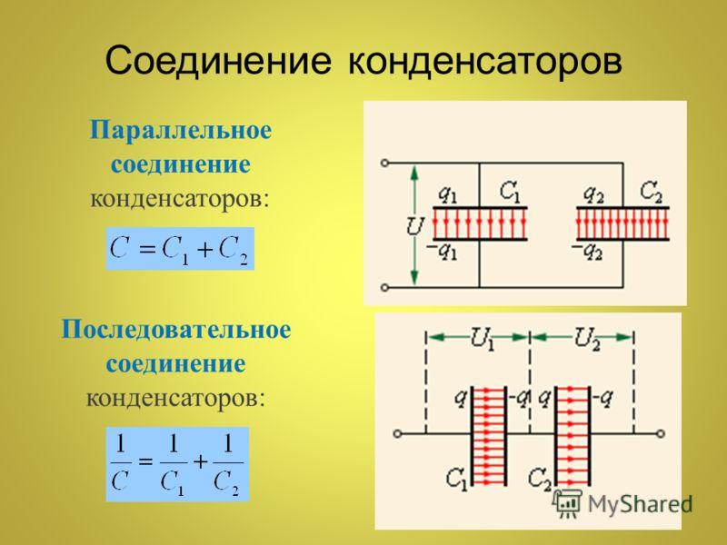 Последовательное соединение конденсаторов: Параллельное соединение конденсаторов: Соединение конденсаторов