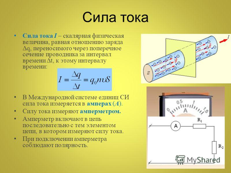 Сила тока Сила тока I – скалярная физическая величина, равная отношению заряда Δq, переносимого через поперечное сечение проводника за интервал времени Δt, к этому интервалу времени: В Международной системе единиц СИ сила тока измеряется в амперах (А