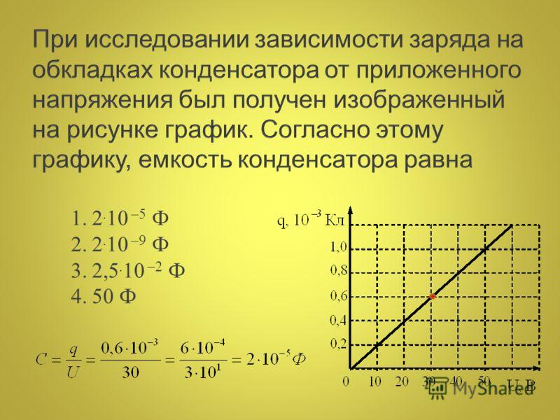 1.2. 10 –5 Ф 2.2. 10 –9 Ф 3.2,5. 10 –2 Ф 4.50 Ф