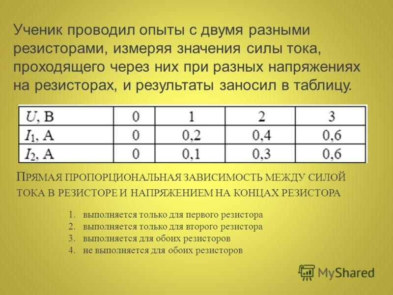 Ученик проводил опыты с двумя разными резисторами, измеряя значения силы тока, проходящего через них при разных напряжениях на резисторах, и результаты заносил в таблицу. П РЯМАЯ ПРОПОРЦИОНАЛЬНАЯ ЗАВИСИМОСТЬ МЕЖДУ СИЛОЙ ТОКА В РЕЗИСТОРЕ И НАПРЯЖЕНИЕМ