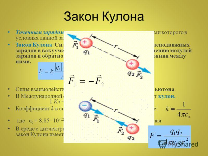 Закон Кулона Точечным зарядом называют заряженное тело, размерами которого в условиях данной задачи можно пренебречь. Закон Кулона: Сила взаимодействия двух точечных неподвижных зарядов в вакууме прямо пропорциональна произведению модулей зарядов и о