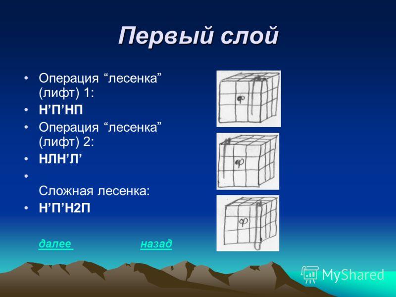 Первый слой Операция лесенка (лифт) 1: НПНП Операция лесенка (лифт) 2: НЛНЛ Сложная лесенка: НПН2П далее назад далее назад