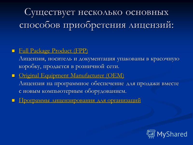 Существует несколько основныхспособов приобретения лицензий: Full Package Product (FPP) Лицензия, носитель и документация упакованы в красочную коробку, продается в розничной сети. Full Package Product (FPP) Full Package Product (FPP) Original Equipm