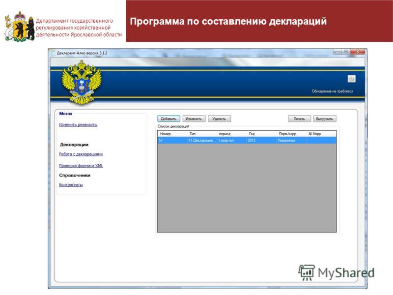 22 Департамент государственного регулирования хозяйственной деятельности Ярославской области Программа по составлению деклараций