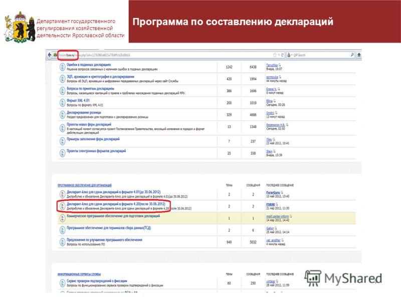Программа по составлению деклараций 4 Департамент государственного регулирования хозяйственной деятельности Ярославской области