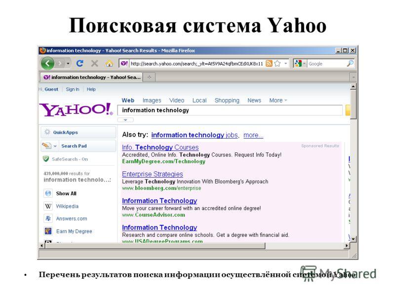 Поисковая система Yahoo Перечень результатов поиска информации осуществлённой системой Yahoo