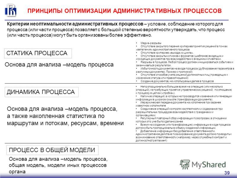 39 ПРИНЦИПЫ ОПТИМИЗАЦИИ АДМИНИСТРАТИВНЫХ ПРОЦЕССОВ СТАТИКА ПРОЦЕССА ДИНАМИКА ПРОЦЕССА ПРОЦЕСС В ОБЩЕЙ МОДЕЛИ Основа для анализа –модель процесса Медиа-разрывы Отсутствие закрытого перечня критериев принятия решений в точках «ветвления» административн