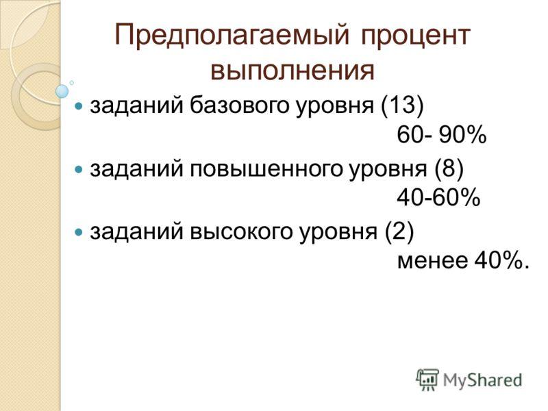 Предполагаемый процент выполнения заданий базового уровня (13) 60- 90% заданий повышенного уровня (8) 40-60% заданий высокого уровня (2) менее 40%.