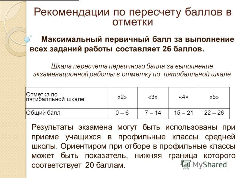 Рекомендации по пересчету баллов в отметки Максимальный первичный балл за выполнение всех заданий работы составляет 26 баллов. Шкала пересчета первичного балла за выполнение экзаменационной работы в отметку по пятибалльной шкале Отметка по пятибалльн