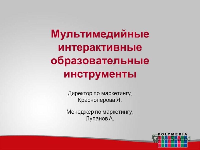 Мультимедийные интерактивные образовательные инструменты Директор по маркетингу, Красноперова Я. Менеджер по маркетингу, Лупанов А.
