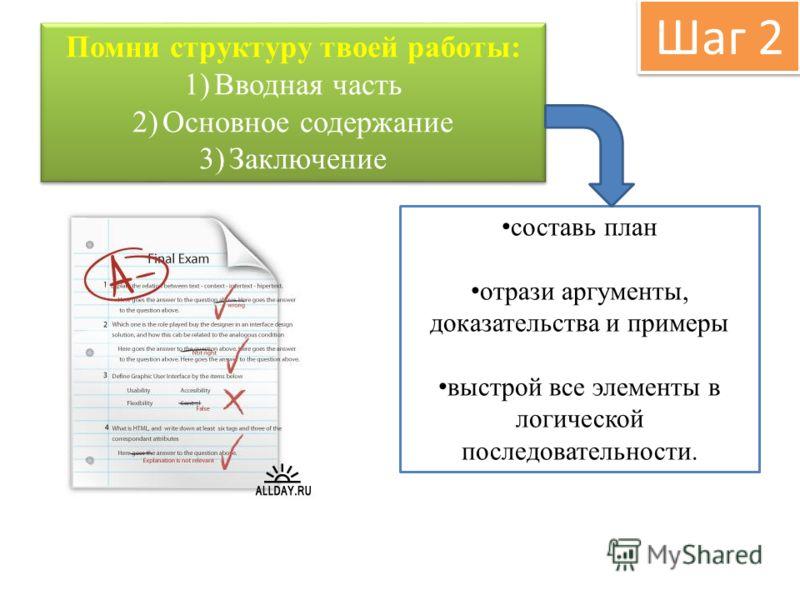 Шаг 2 Помни структуру твоей работы: 1)Вводная часть 2)Основное содержание 3)Заключение Помни структуру твоей работы: 1)Вводная часть 2)Основное содержание 3)Заключение составь план отрази аргументы, доказательства и примеры выстрой все элементы в лог