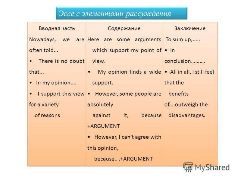 Эссе с элементами рассуждения