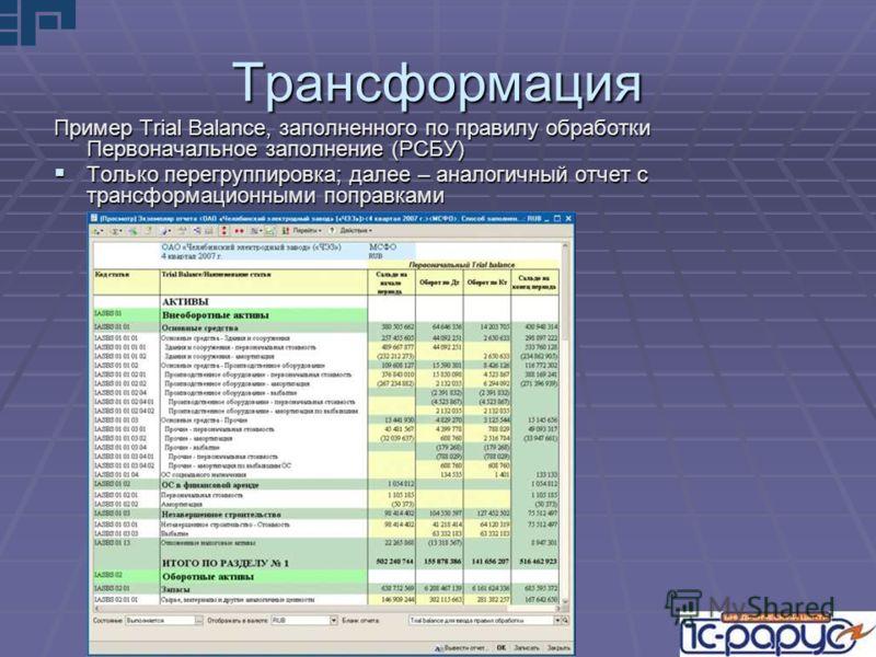 Трансформация Пример Trial Balance, заполненного по правилу обработки Первоначальное заполнение (РСБУ) Только перегруппировка; далее – аналогичный отчет с трансформационными поправками